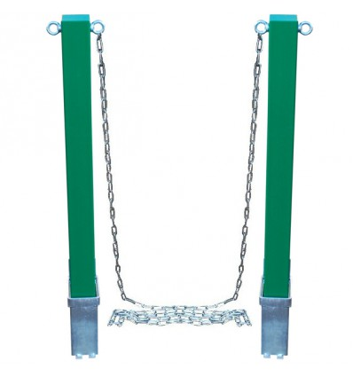 Green Removable Security Bollard & 5 metres of Steel Chain.