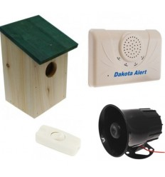 Wireless DCMA Driveway Alarm, Wooden Bird-box & Siren Kit