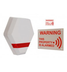 Compact Solar Powered Dummy Alarm Siren with Window Sticker & External Sign
