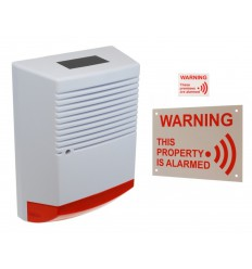 Large Solar Powered Dummy Alarm Siren with External Alarm Warning Sign & Window Sticker