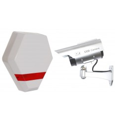Compact Solar Powered Dummy Alarm Siren & Solar DC2 Dummy CCTV Camera