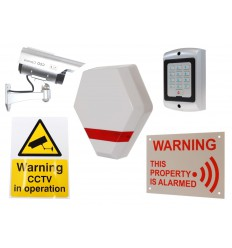 Compact Solar Dummy Alarm Siren, Solar DC2 Dummy CCTV Camera, Dummy Alarm Keypad & 2 x Security Signs