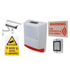 Large Solar Dummy Alarm Siren, Solar DC2 Solar CCTV Camera, Dummy Alarm Keypad & Security Signs.