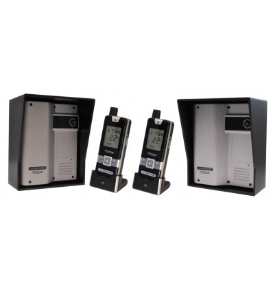 Wireless Gate & Door Intercom with 2 x Handsets & 2 x Caller Stations (UltraCom2 ) Silver & Black Hood s