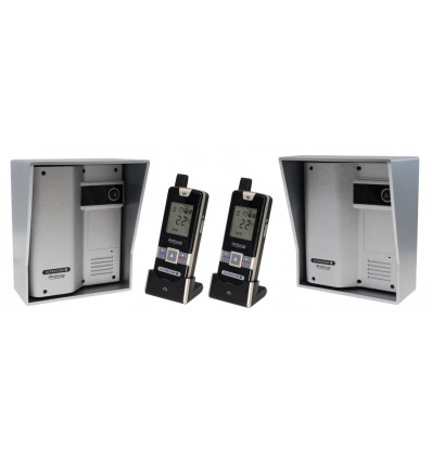 Wireless Gate & Door Intercom with 2 x Handsets & 2 x Caller Stations (UltraCom2 ) Silver & Silver Hood s