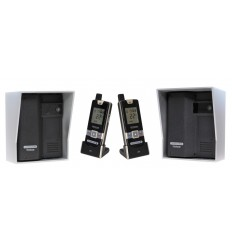 Wireless Gate & Door Intercom with 2 x Handsets & 2 x Caller Stations (UltraCom2 ) Black & Silver Hood s