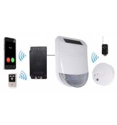 Battery & Solar Smoke & Heat GSM Alarm with Siren