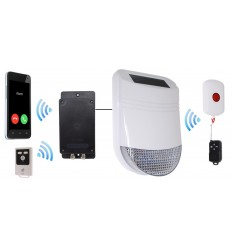 Outdoor Solar Siren Panic Alarm with Portable Panic Button & Battery GSM Dialler (UltraDIAL)