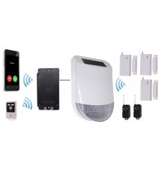 HY Solar Wireless Siren House Alarm Kit 1 with Battery GSM Dialler