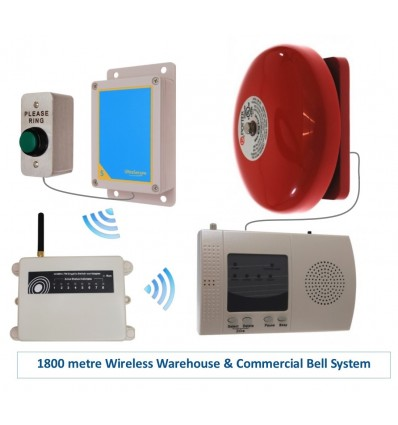 Extra Long Range (1800 metre) Wireless Warehouse 'S' Bell System
