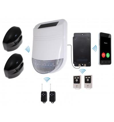HY Outdoor Solar Wireless Siren Alarm Kit 2 with GSM Auto-Dialler