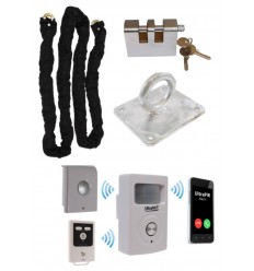 Chain, Lock & Ground Anchor with Battery Powered GSM PIR Alarm (Shed & Garage Security)