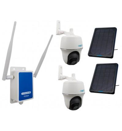 4G Wireless UltraCAM Router with 2 x Reolink Pan & Tilt Argus Solar Wifi Cameras