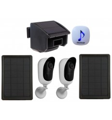 DA600 Wireless Garden & Driveway Alarm with 2 x Solar Wifi Cameras