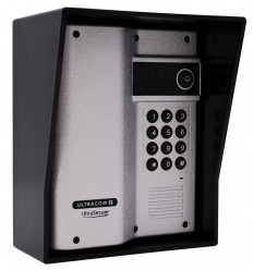 Silver UltraCom Wireless Intercom Caller Station with Keypad & Black Hood