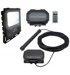 Flood Light Long Range Wireless Driveway Metal Detecting Alarm with Outdoor Receiver & Remote Control.