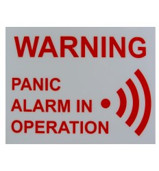 'Panic Alarm in Operation' Window Sticker