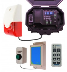 Wireless Commercial Doorbell inc Heavy Duty Push Button -Siren & Flashing Strobe with adjustable duration options.