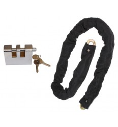 1.5 metres Long 10 mm Case Hardened Steel Chain with Double Slotted Shackle Lock (012-1400 K/D, 012-1410 K/A).