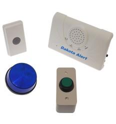 Long Range Wireless Bell, H/Duty Push Button & Flashing Strobe Light